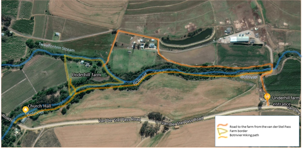 a map of underhill farm access roads and trails